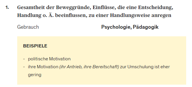 Definition von Motivation
