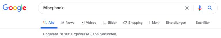 Google Suche Misophonie im Oktober 2020