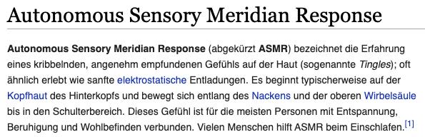 ASMR Definition bei Wikipedia, vom 07.11.2020